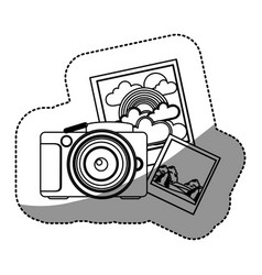 figure camera with pictures icon vector image
