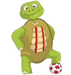 Funny Turtle Soccer Player vector image