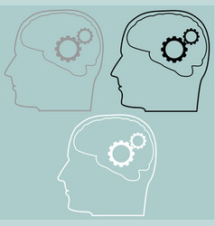 gears in the brain of head icon vector image