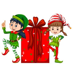 Two girls dressed in elf costume and red present vector image