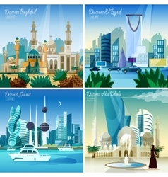 Arabic Cityscape 4 Flat Icons Square vector image vector image