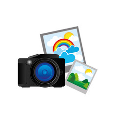 black camera with pictures icon vector image