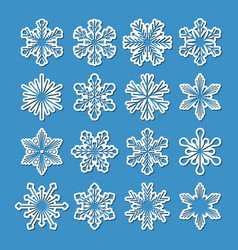collection of 16 white snowflakes with simple vector image vector image