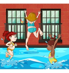 Girls diving and swimming in the pool vector image vector image