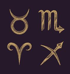 hand drawn zodiac signs set vector image vector image