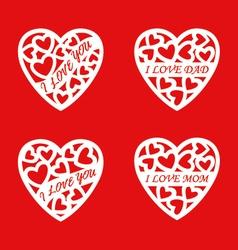letter words white heart vector image