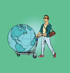 man tourist with a luggage cart with the planet vector image vector image