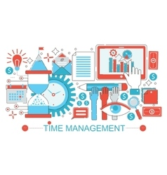 Modern Flat thin Line design Time management vector image vector image