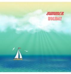 Retro Sea Yacht Summer Travel Poster vector image