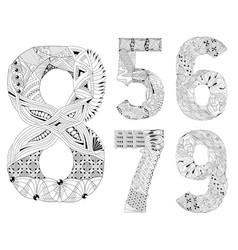 set of number five six seven eight nine vector image vector image