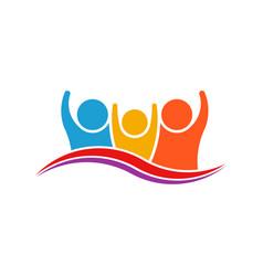 three people family logo verctor family vector image