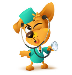 yellow dog doctor vet keeps stethoscope vector image vector image