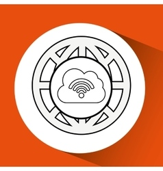 connection concetp globe cloud wifi vector image
