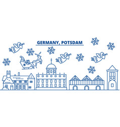germany postdam winter city skyline merry vector image