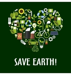 Heart with ecology saving energy recycling icons vector image vector image