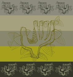 Pattern with greeting contoured hands vector image vector image