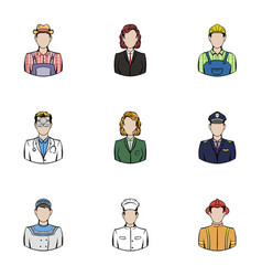 profession icons set cartoon style vector image vector image
