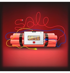 Sale poster with explosives alarm clock vector image
