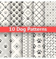 Set of animal seamless pattern of paw footprint vector
