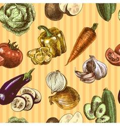 Vegetables sketch color seamless pattern vector image vector image