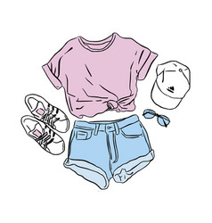 actual drawing summer look street wear set vector image