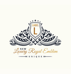 Calligraphic luxury line flourishes elegant emblem vector