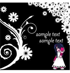 floral background with emo kid vector image