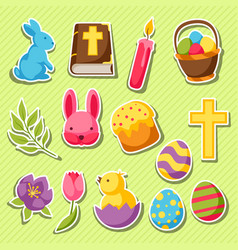 happy easter set of decorative objects eggs and vector image vector image