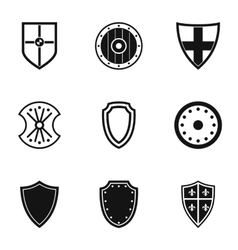 Military shield icons set simple style vector image vector image