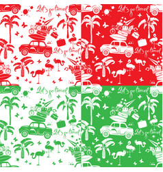 set of seamless patterns with small retro travel vector image