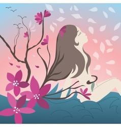 Young girl with blossoming trees vector image
