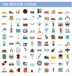 100 repair icons set flat style vector