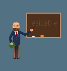 A teacher and chalkboard vector