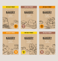 bakery hand drawn posters vintage bread menu vector image