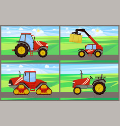 Bale stacker and tractor set vector