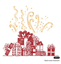 Beautiful gift boxes composition vector image