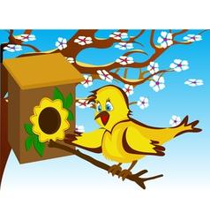 Bird in the birdhouse near a flowering tree vector