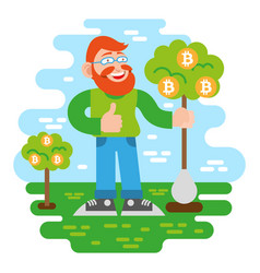 bitcoin investor vector image