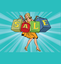 Blond woman with shopping bags sale vector