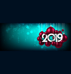blue festive 2019 new year banner with pink vector image