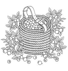 Blueberries in basket cartoon vector