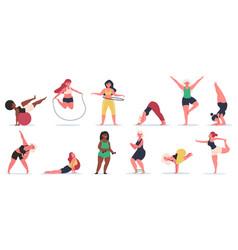 body positive fitness plus size girls do yoga vector image