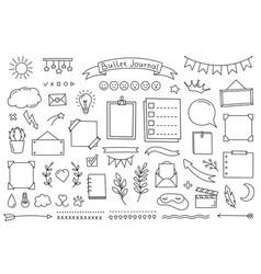 Bullet journal doodle set hand drawn elements for vector