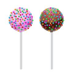 Cake pop sweet dessert with chocolate and pink vector