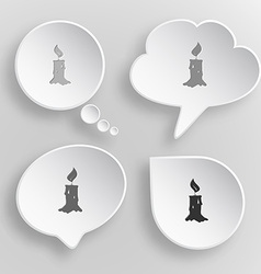 Candle White flat buttons on gray background vector image