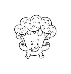cartoon broccoli character biceps muscle vector image