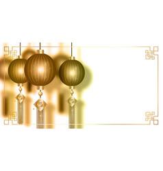 Chinese red lanterns luxury gold oriental banner vector