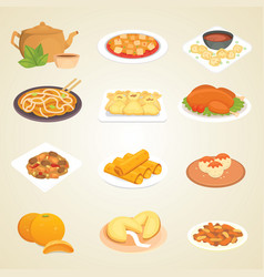 Chinese traditional food dish delicious cuisine vector