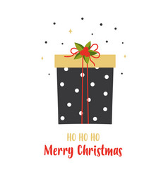 christmas card with cute gift isolated on white vector image