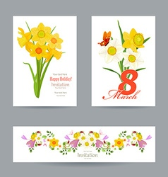 collection of greeting cards with spring flowers vector image